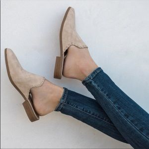 Stitched detailed Taupe Mule Ballerina Flats